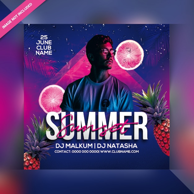 Summer Sunset Party Flyer Premium Psd