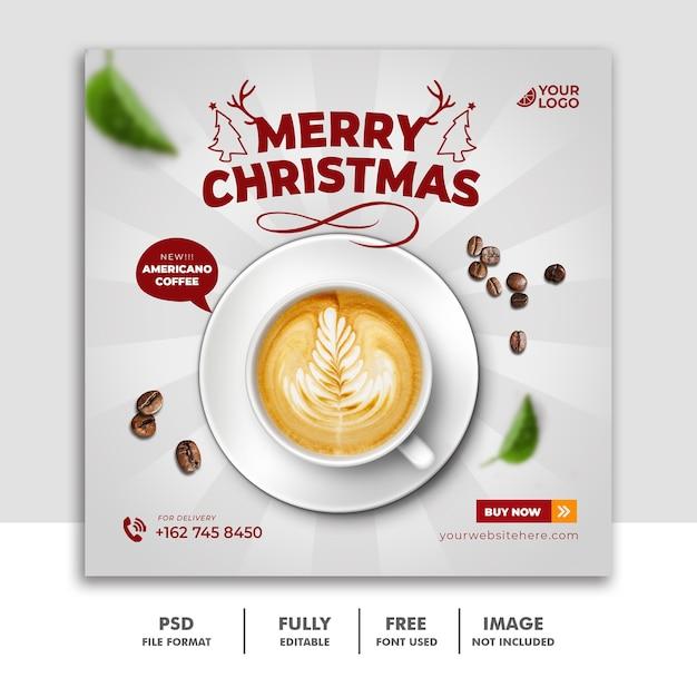 Świąteczny Szablon Postu W Mediach Społecznościowych Na Pyszne Menu żywności Napój Kawę Premium Psd