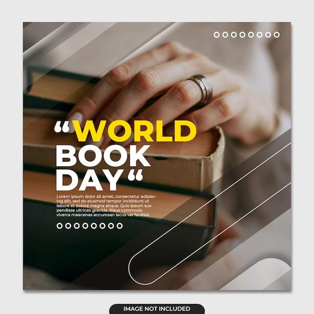 Światowy Dzień Książki Szablon Mediów Społecznościowych Premium Psd