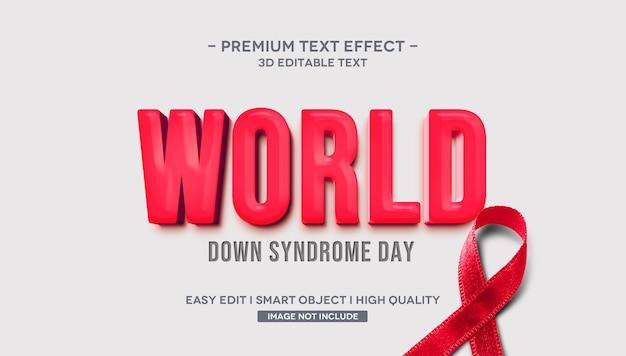 Światowy Dzień Zespołu Downa Efekt Stylu Tekstu 3d Premium Psd