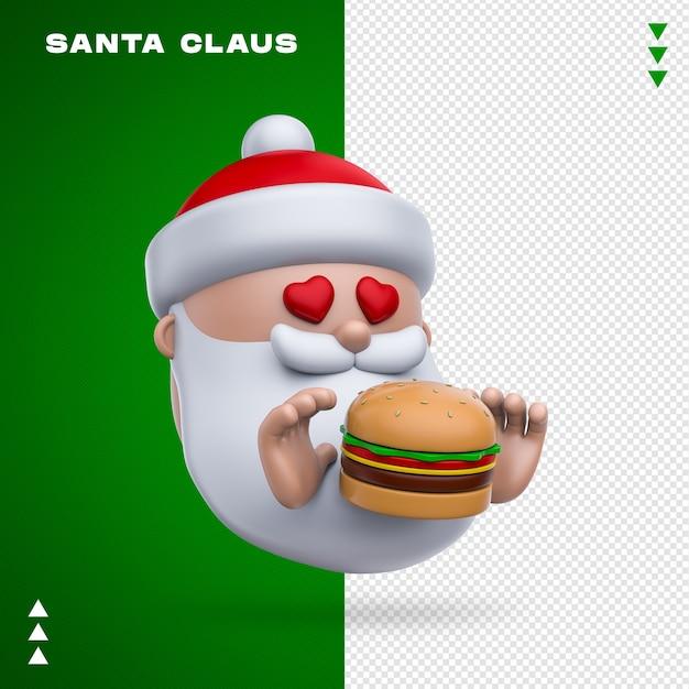 Święty Mikołaj Burger Renderowania 3d Na Białym Tle Premium Psd