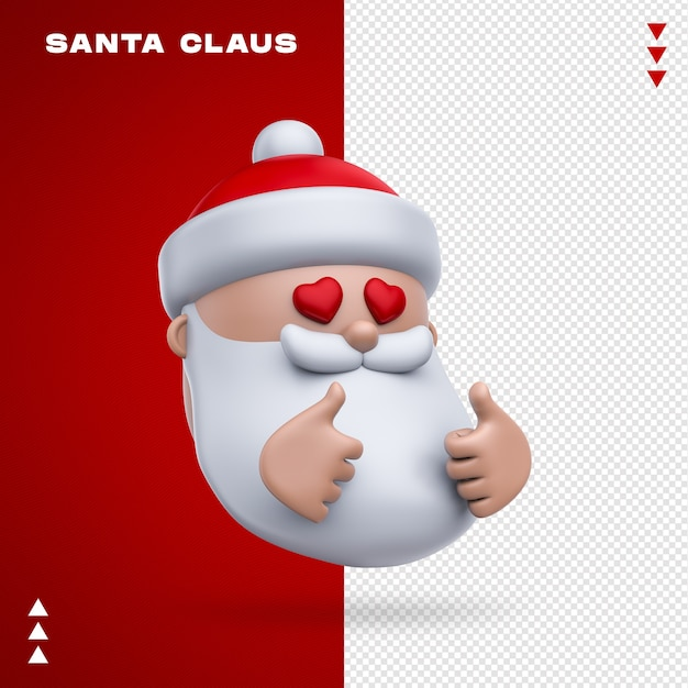 Święty Mikołaj Emoji W Renderowaniu 3d Premium Psd