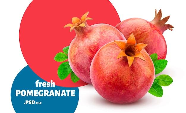 Świeże, Dojrzałe Owoce Granatu Na Białym Tle Premium Psd
