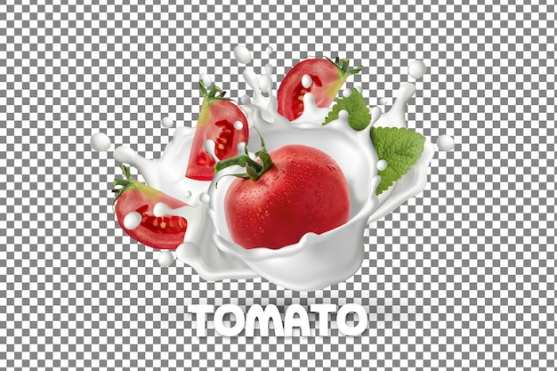 Świeży Pomidor Z Powitalny Jogurt Mleka Na Białym Tle Premium Psd