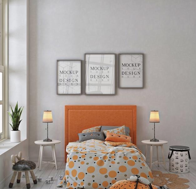 Sypialnia Dla Dzieci Z Ramą Plakatową Makiety Premium Psd