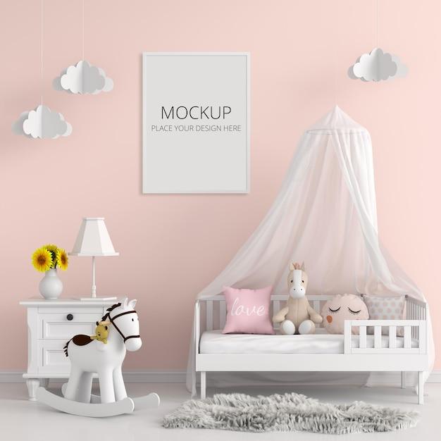 Sypialnia Dziecka Z Makietą Ramy Premium Psd