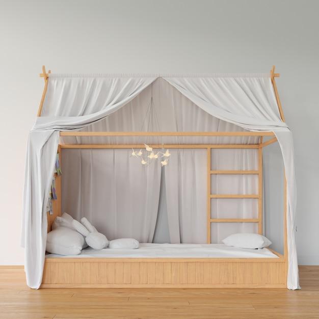 Sypialnia Z Drewnianym łóżkiem Darmowe Psd
