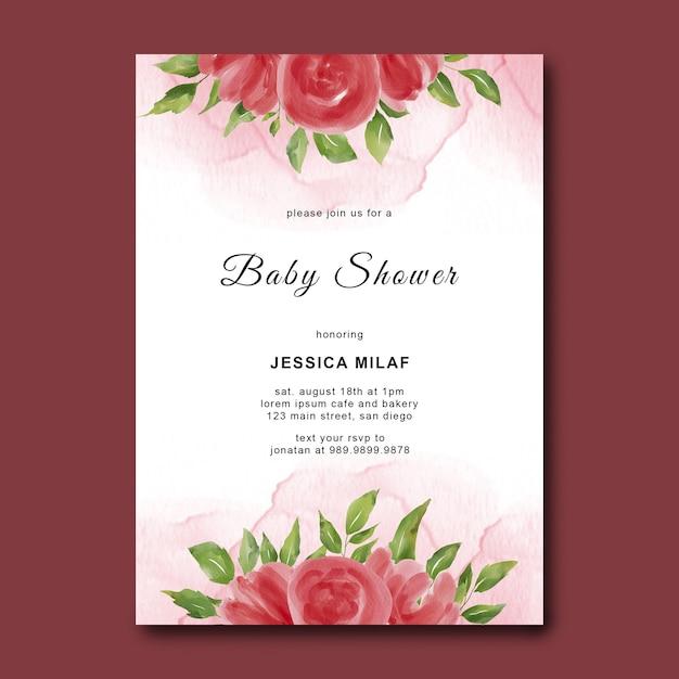 Szablon Baby Shower Z Kwiatami W Akwarela Premium Psd