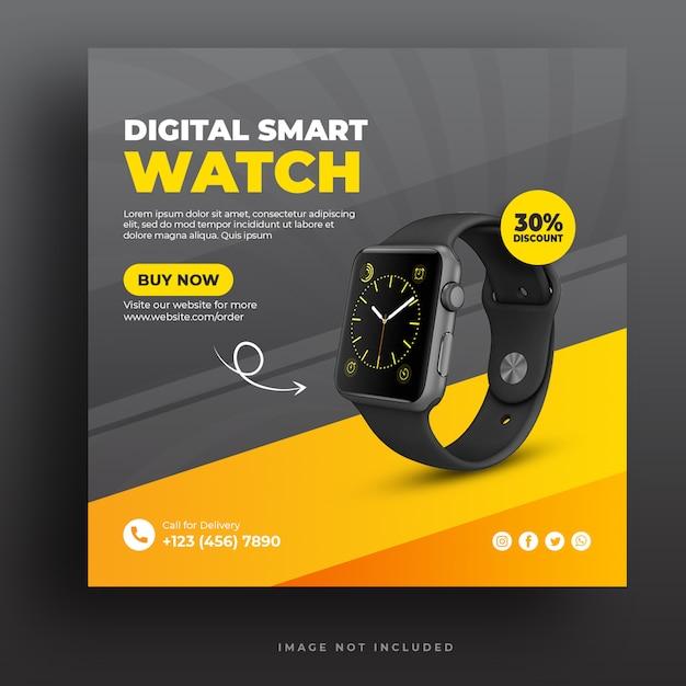 Szablon Banera Mediów Społecznościowych Digital Smart Watch Premium Psd