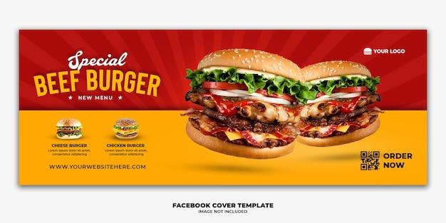 Szablon Banera Na Okładkę Na Facebooka Dla Restauracji Fast Food Burger Menu Premium Psd