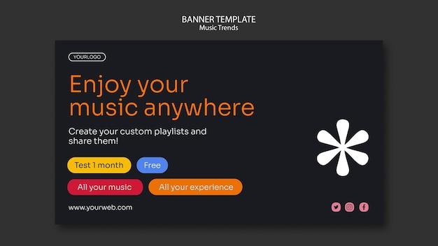 Szablon Banera Platformy Strumieniowego Przesyłania Muzyki Darmowe Psd