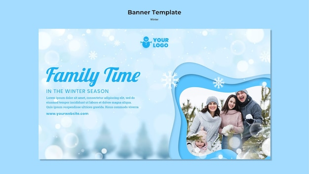 Szablon Banera Reklamowego Zimowego Czasu Rodzinnego Darmowe Psd