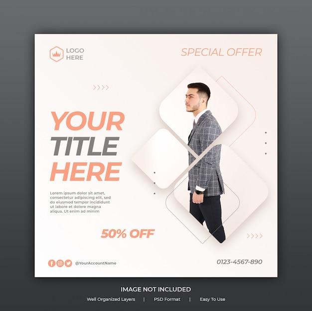 Szablon Banerów Reklamowych W Mediach Społecznościowych Lub Kwadratowa Ulotka Premium Psd