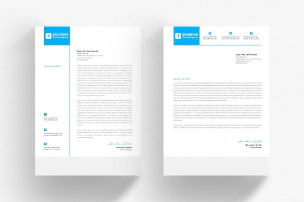 Szablon Biały Papier Firmowy Z Niebieskimi Detalami Premium Psd