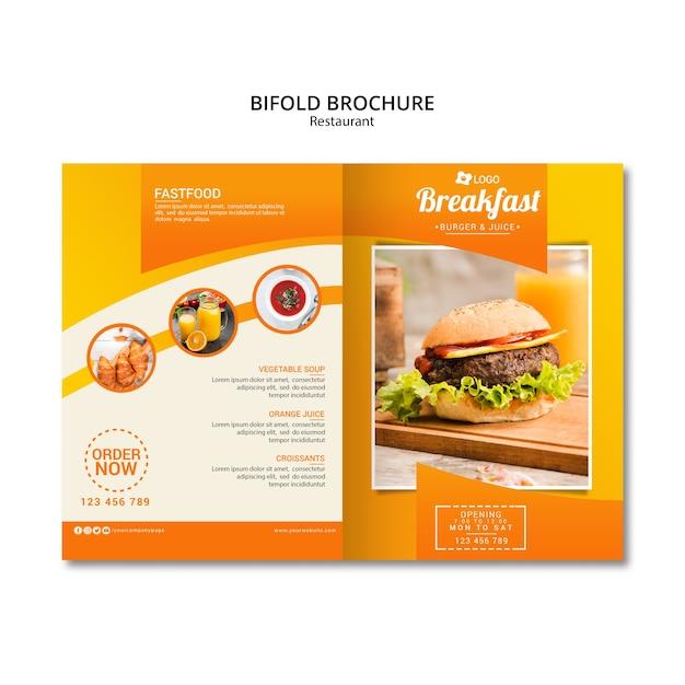 Szablon Broszura Bifold Restauracji Premium Psd