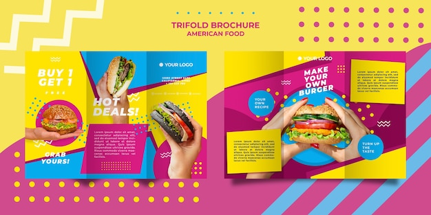 Szablon Broszury Potrójnej Amerykańskiej żywności Darmowe Psd