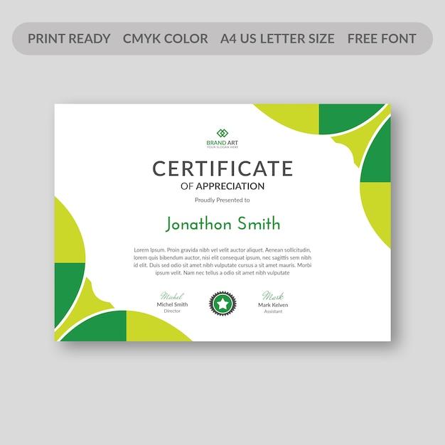 Szablon certyfikatu streszczenie Premium Psd