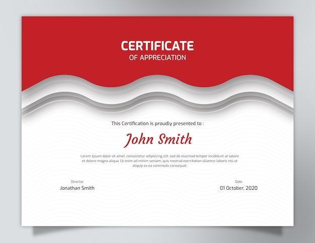 Szablon certyfikatu z czerwonymi falami ze wzorem wieloboku Premium Psd