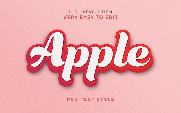 Szablon Efektu Stylu Tekstowego Apple 3d Premium Psd