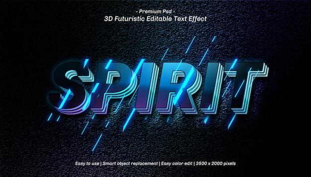 Szablon Efektu Tekstowego 3d Spirit Premium Psd