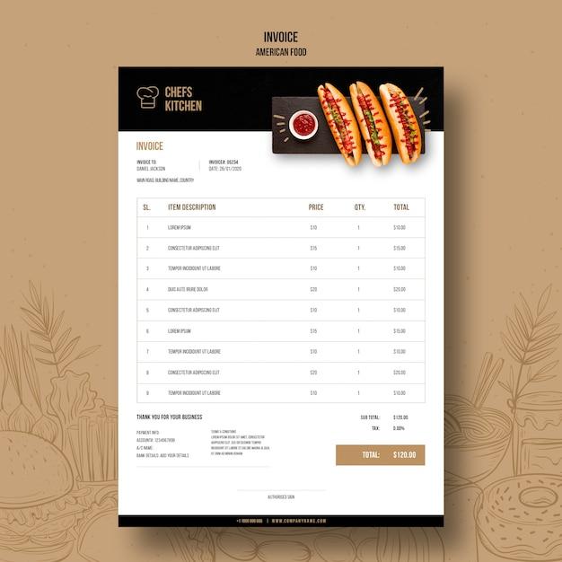 Szablon Faktury Amerykańskie Klasyczne Hot Dogi Darmowe Psd