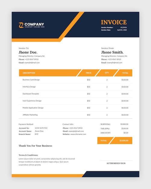 Szablon Faktury Nowoczesnej Firmy Streszczenie Premium Psd