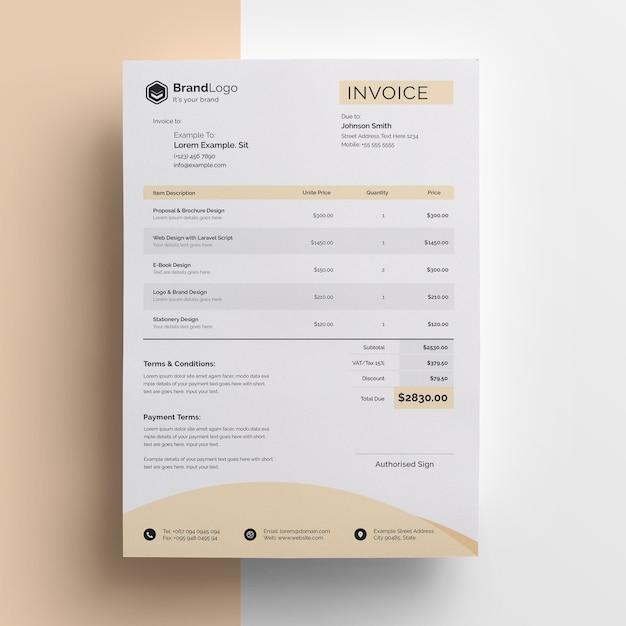 Szablon Faktury Nowoczesny Biznes Premium Psd
