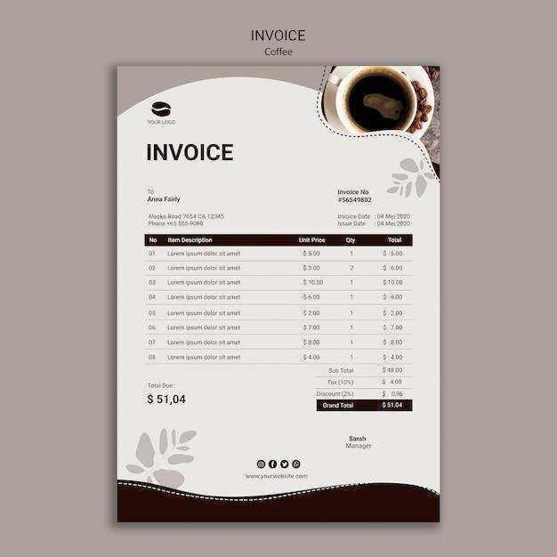 Szablon Faktury Smacznej Kawy Darmowe Psd