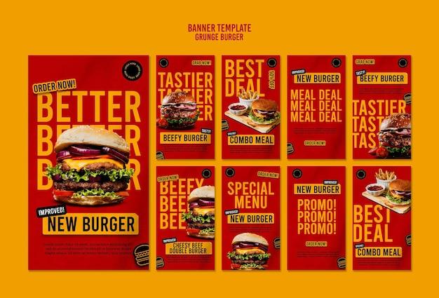 Szablon Historii Instagram Burger Grunge Premium Psd