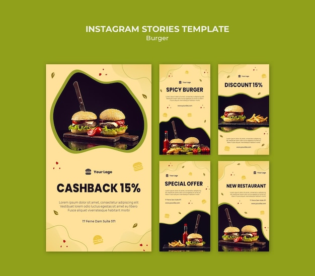 Szablon Historii Na Instagramie Burger Premium Psd