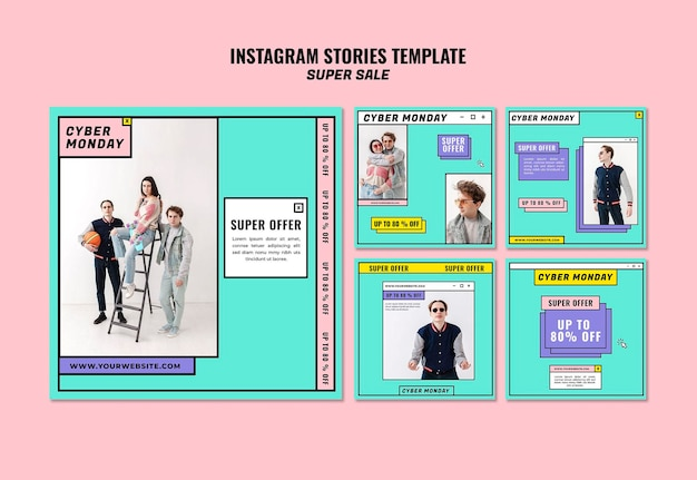 Szablon Historii Na Instagramie W Cyber Poniedziałek Darmowe Psd