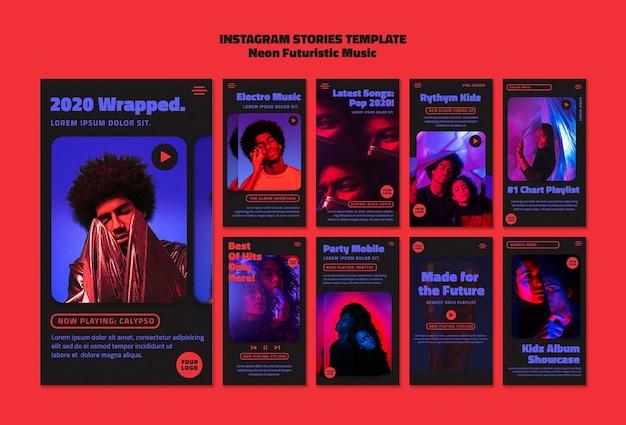 Szablon Historii Na Instagramie Z Futurystyczną Muzyką Neonową Premium Psd