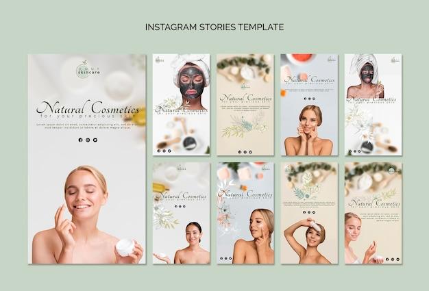 Szablon Historii Na Instagramie Z Kosmetykami Naturalnymi Darmowe Psd