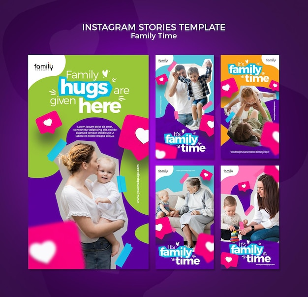 Szablon Historii Na Instagramie Z Rodziną Premium Psd