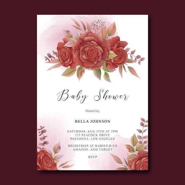 Szablon Karty Baby Shower Z Akwarela Dekoracje Kwiatowe Premium Psd