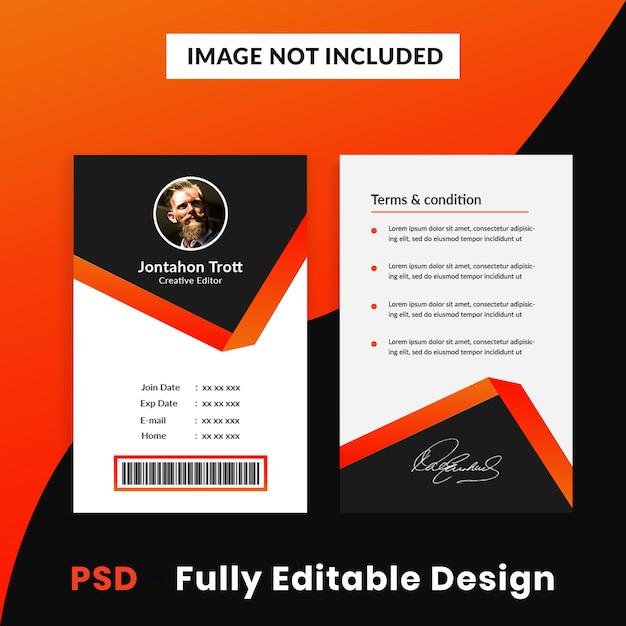 Szablon karty identyfikacyjnej firmy kreatywnej Premium Psd