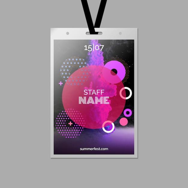 Szablon karty identyfikacyjnej na letni festiwal Darmowe Psd