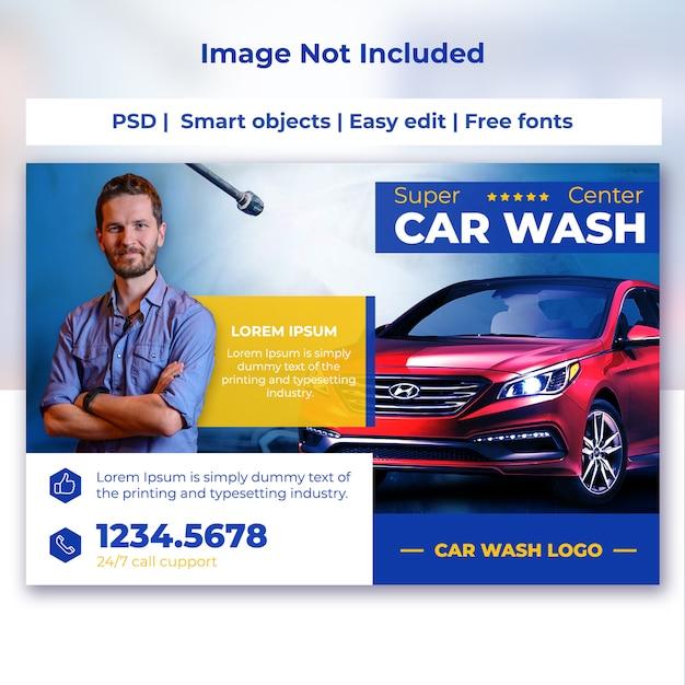 Szablon karty pocztowej myjni samochodowej Premium Psd