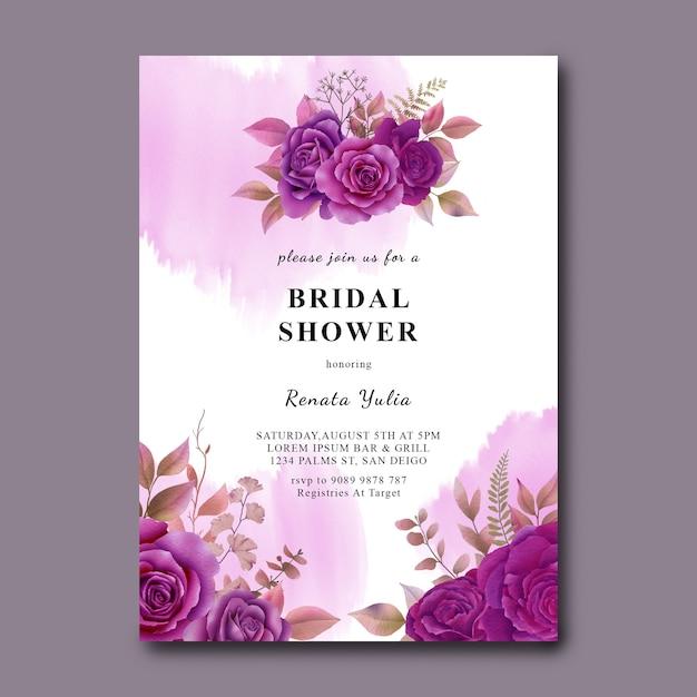 Szablon Karty Prysznic Dla Nowożeńców Z Akwarela Fioletowe Róże Premium Psd
