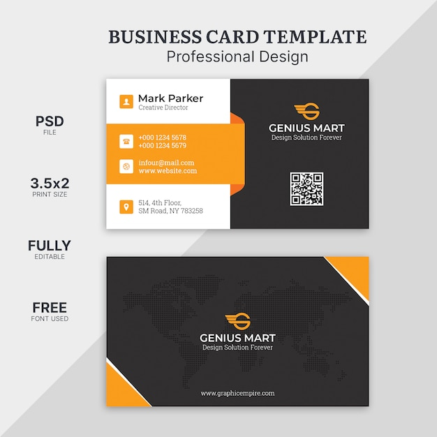 Szablon Karty Wizyty Pomarańczowy Kształt Premium Psd
