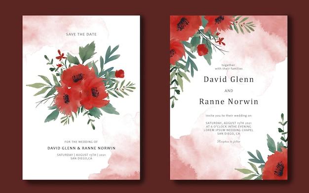 Szablon Karty Zaproszenie Na ślub Z Akwarela Czerwone Kwiaty Premium Psd
