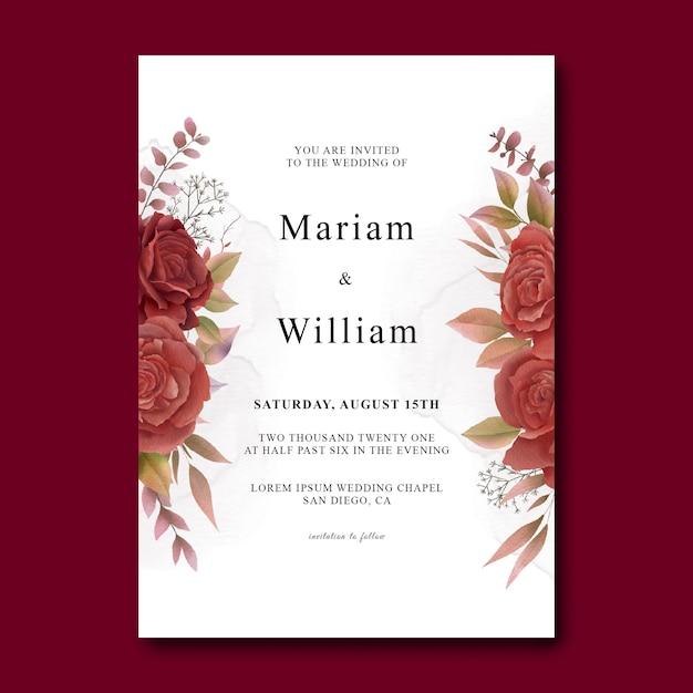 Szablon Karty Zaproszenie Na ślub Z Akwarela Czerwone Róże Premium Psd