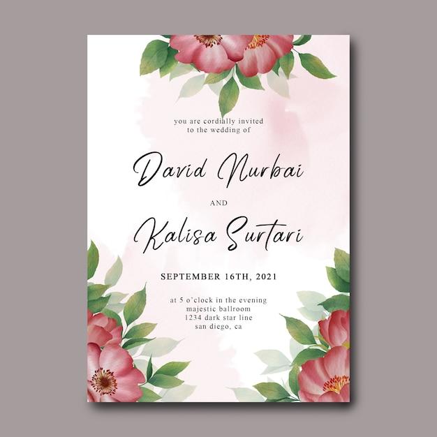 Szablon Karty Zaproszenie Na ślub Z Akwarelowymi Dekoracjami Kwiatowymi I Akwarelą Premium Psd