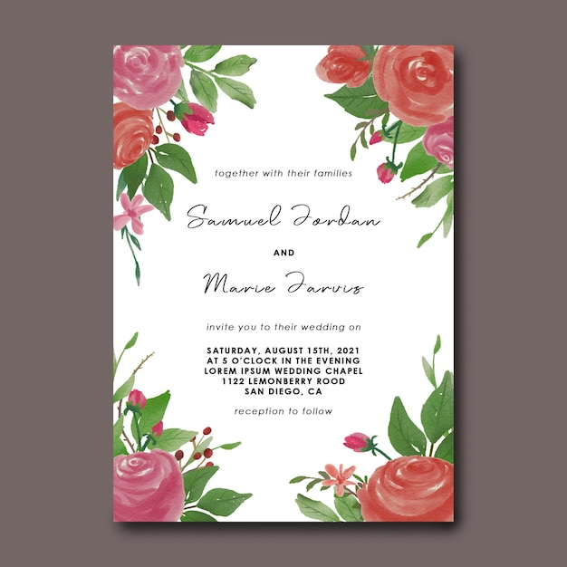 Szablon Karty Zaproszenie Na ślub Z Dekoracją Bukiet Kwiatów Akwarela Premium Psd