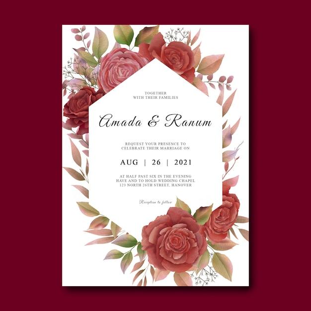 Szablon Karty Zaproszenie Na ślub Z Ramą Akwarela Kwiat Róży Premium Psd