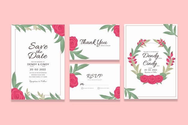 Szablon Karty Zaproszenie ślubne Z Dekoracjami Akwarela Kwiatowy Premium Psd