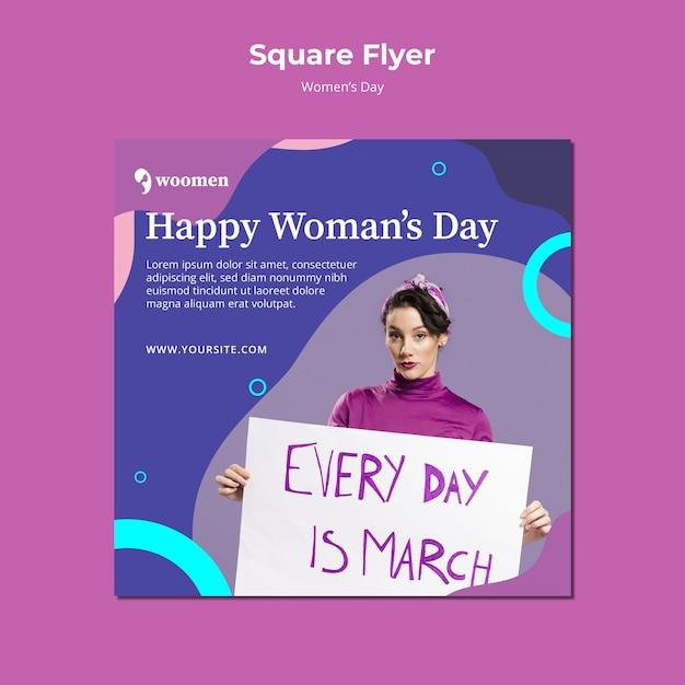 Szablon Kolorowe Kwadratowe Ulotki Dzień Kobiet Darmowe Psd