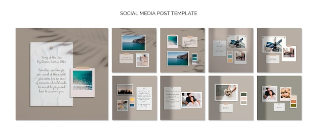 Szablon Kolorowy Media Moodboard Post Mediów Społecznościowych Darmowe Psd