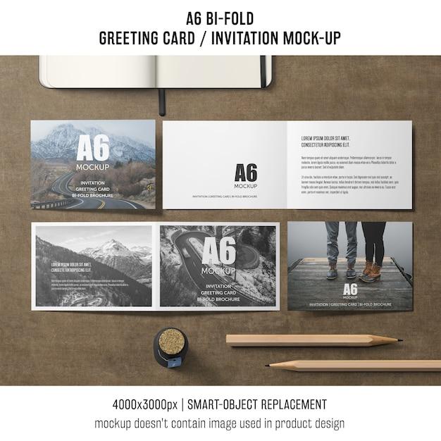 Szablon kreatywny a6 bi-fold zaproszenia karty Darmowe Psd