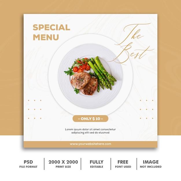 Szablon kwadratowy baner, luksusowe menu restauracji żywności Premium Psd